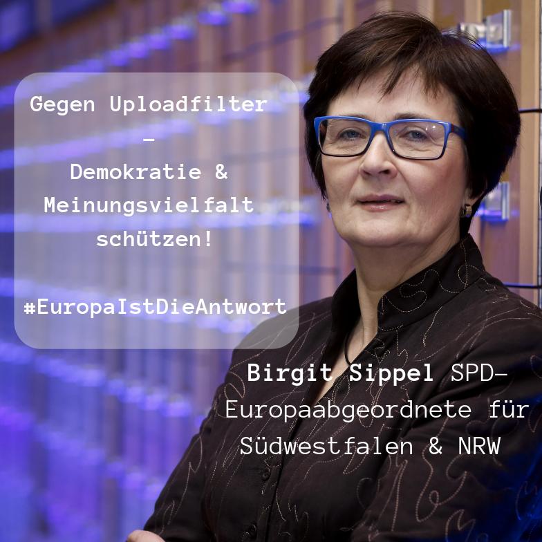 Birgit Sippel: Nein zu Uploadfiltern